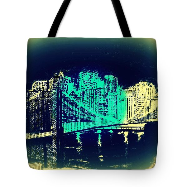 Manhattan In Blue Tote Bag by Irving Starr