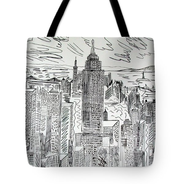 Tote Bag featuring the drawing Manhattan by Janice Rae Pariza