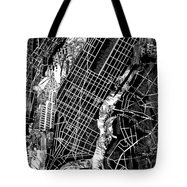 Manhattan Map Black And White Tote Bag