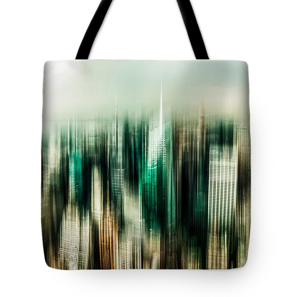 Manhattan Panorama Abstract Tote Bag by Hannes Cmarits