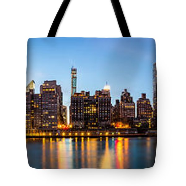Tote Bag featuring the photograph Manhattan Panorama And Queensboro Bridge by Mihai Andritoiu