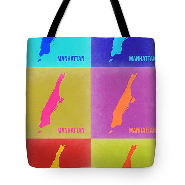 Manhattan Pop Art Map 3 Tote Bag by Naxart Studio
