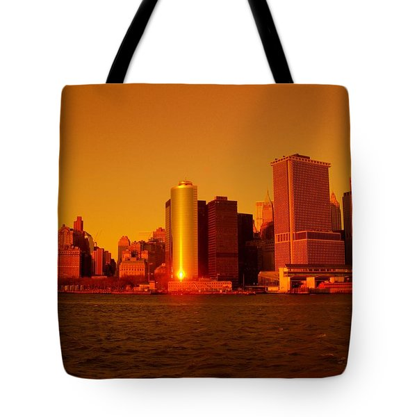 Manhattan Skyline At Sunset Tote Bag