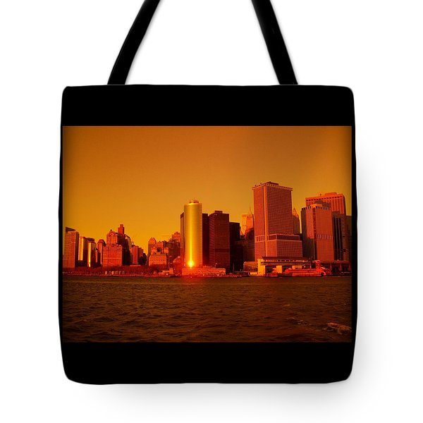 Manhattan Skyline At Sunset Tote Bag