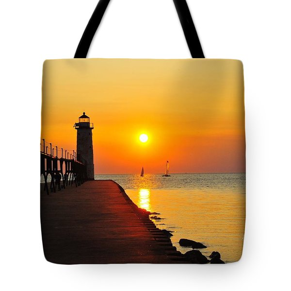 Manistee Lighthouse Sunset Tote Bag