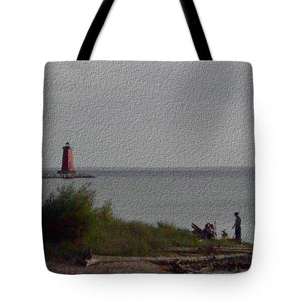 Tote Bag featuring the photograph Manistique Light by Charles Robinson