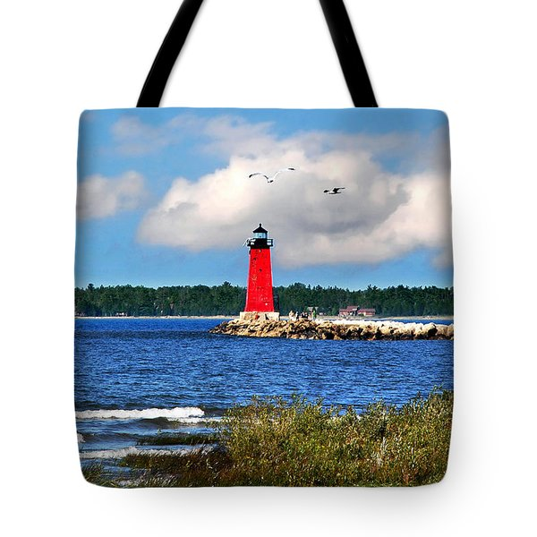Manistique Lighthouse Tote Bag by Christina Rollo