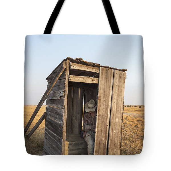 Mannequin Sitting In Old Wooden Outhouse Tote Bag