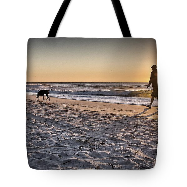 Man's Best Friend On Beach Tote Bag