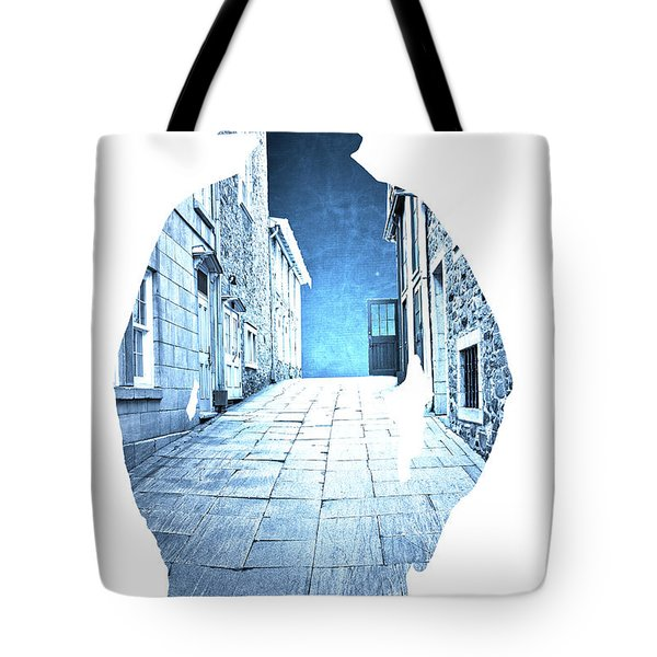 Man's Profile Silhouette With Old City Streets Tote Bag by Edward Fielding
