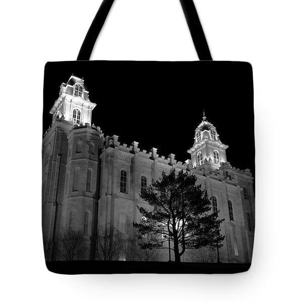 Manti Temple Black And White Tote Bag