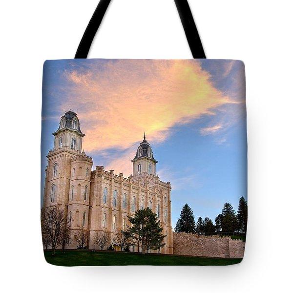 Manti Temple Morning Tote Bag by David Andersen