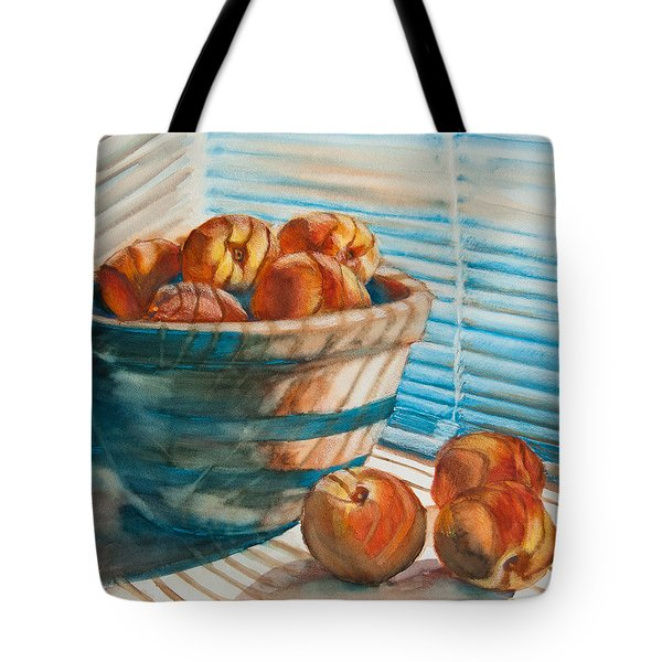 Many Blind Peaches Tote Bag by Jani Freimann