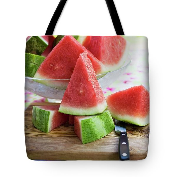Many Pieces Of Watermelon In A Glass Bowl Tote Bag