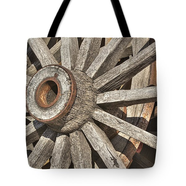 Many Wooden Wheels Tote Bag by Phyllis Denton