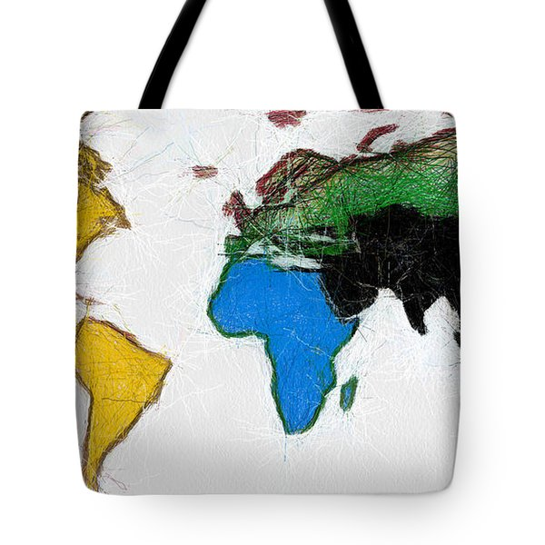 Map Digital Art World Tote Bag by Georgi Dimitrov