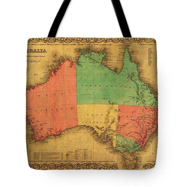 Map Of Australia Vintage 1855 On Worn Canvas Tote Bag
