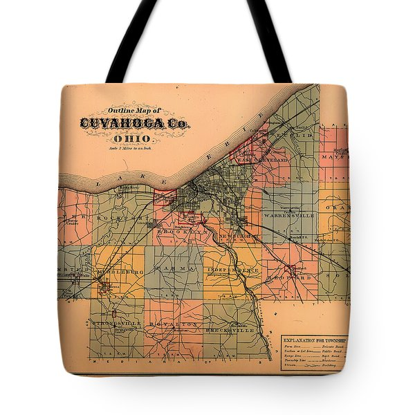 Map Of Cuyahoga County Ohio 1874 Tote Bag
