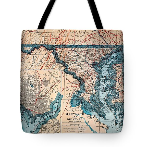 Map Of Delaware And Maryland 1921 Tote Bag