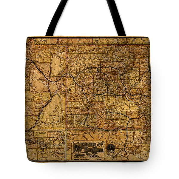 Map Of Denver Rio Grande Railroad System Including New Mexico Circa 1889 Tote Bag