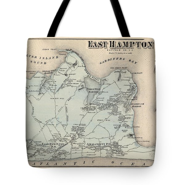 Map Of East Hampton 1873 Tote Bag