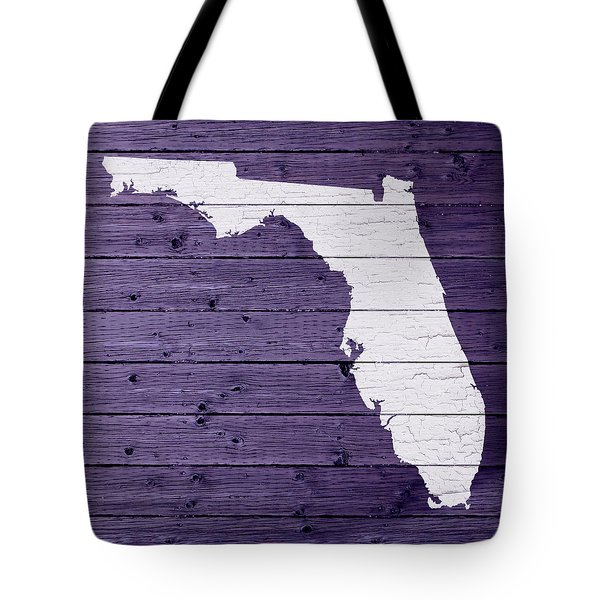 Map Of Florida State Outline White Distressed Paint On Reclaimed Wood Planks Tote Bag