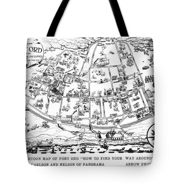 Map Of Fort Ord Army Base Monterey California Circa 1950 Tote Bag