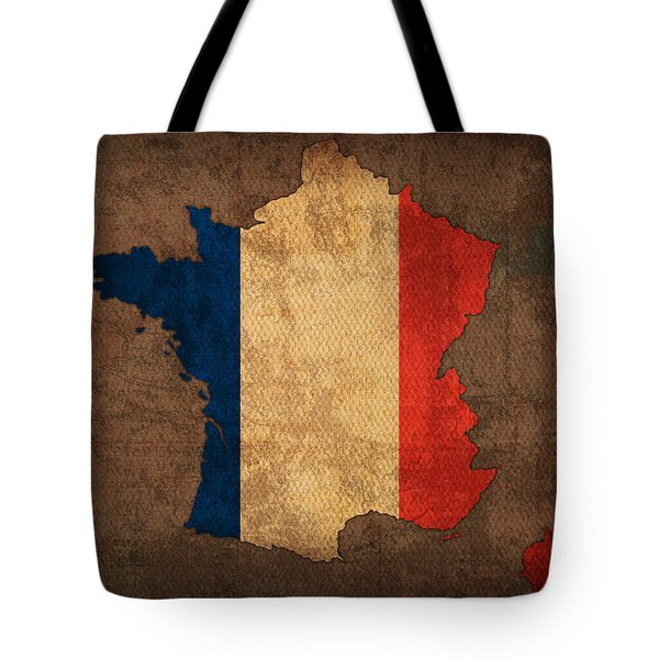 Map Of France With Flag Art On Distressed Worn Canvas Tote Bag by Design Turnpike
