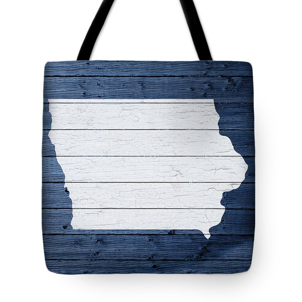 Map Of Iowa State Outline White Distressed Paint On Reclaimed Wood Planks  Tote Bag by Design - Map Of Iowa State Outline White Distressed Paint On Reclaimed Wood