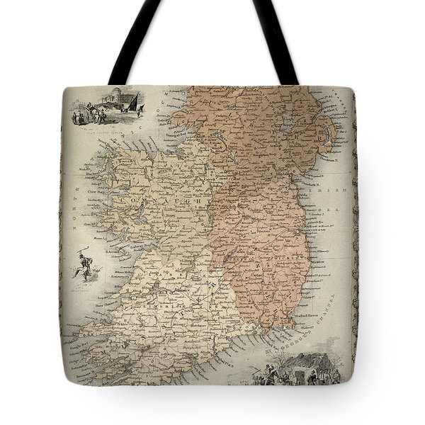 Map Of Ireland Tote Bag by C Montague