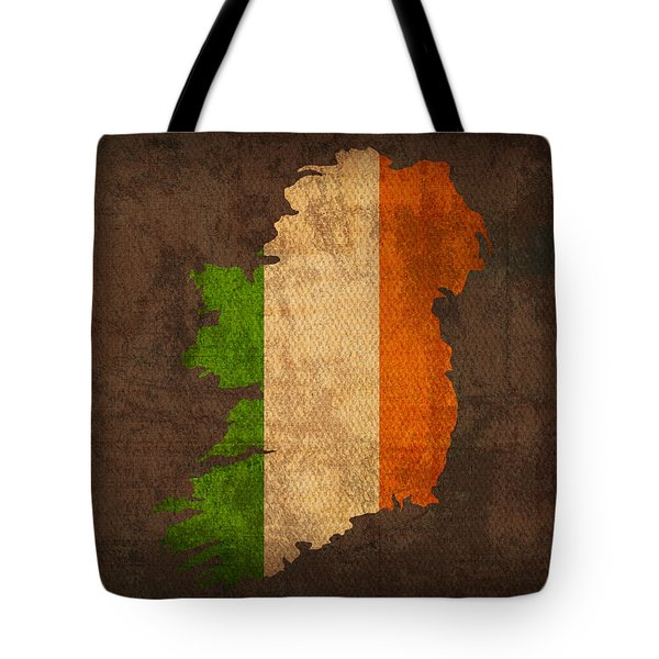 Map Of Ireland With Flag Art On Distressed Worn Canvas Tote Bag by Design Turnpike
