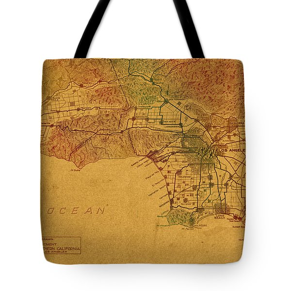 Map Of Los Angeles Hand Drawn And Colored Schematic Illustration From 1916 On Worn Parchment Tote Bag