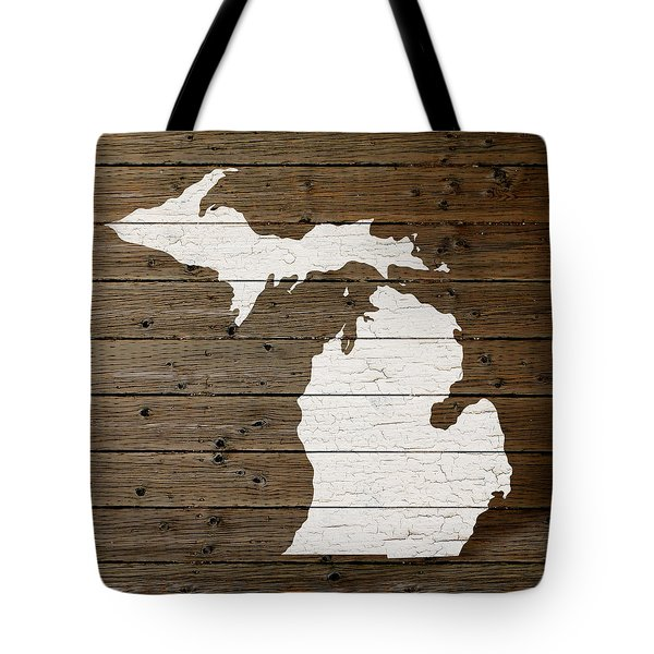 Map Of Michigan State Outline White Distressed Paint On Reclaimed Wood Planks Tote Bag by Design Turnpike