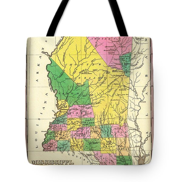 Map Of Mississippi 1827 Tote Bag