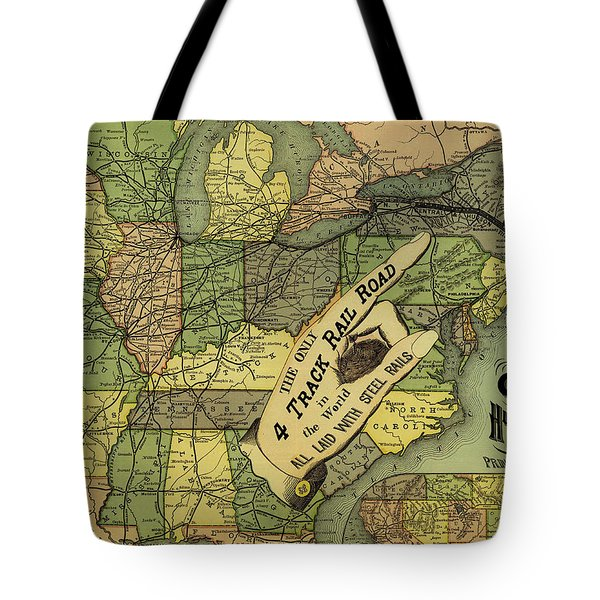 Map Of New York Central And Hudson River Railroad Routes 1876 Tote Bag