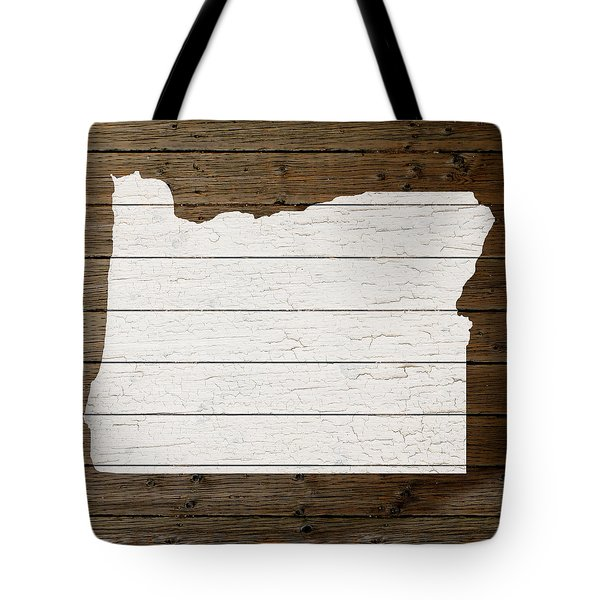Map Of Oregon State Outline White Distressed Paint On Reclaimed Wood Planks Tote Bag by Design Turnpike