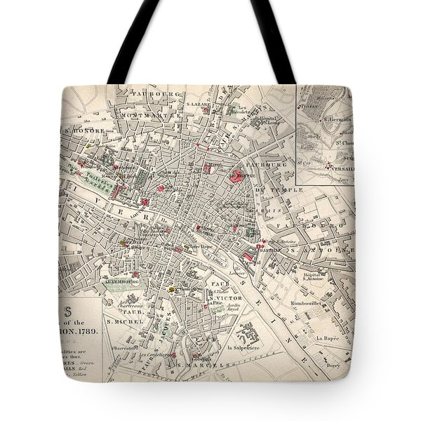 Map Of Paris At The Outbreak Of The French Revolution Tote Bag by French School