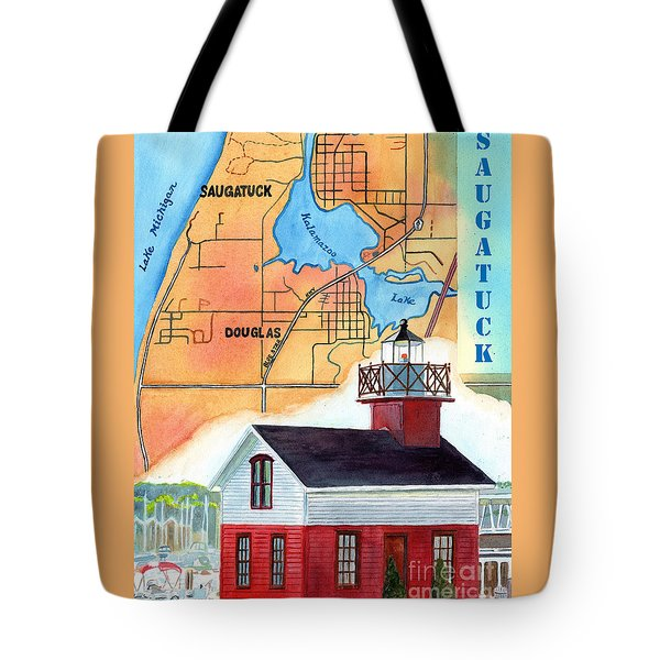 Map Of Saugatuck Tote Bag by LeAnne Sowa