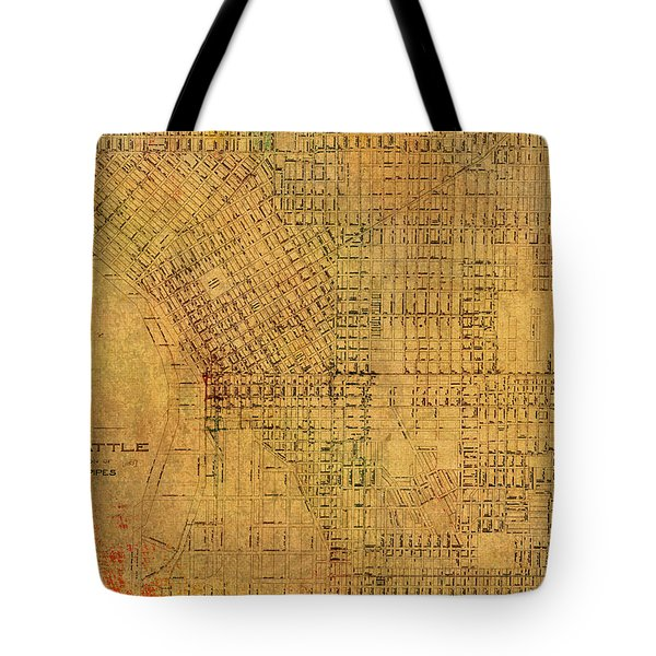 Map Of Seattle Washington Water Pipe And Street Map Vintage Hand Colored Diagram On Worn Parchment Tote Bag