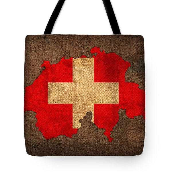 Map Of Switzerland With Flag Art On Distressed Worn Canvas Tote Bag by Design Turnpike