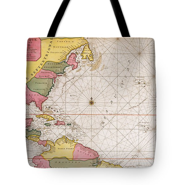 Map Of The Atlantic Ocean Showing The East Coast Of North America The Caribbean And Central America Tote Bag by French School