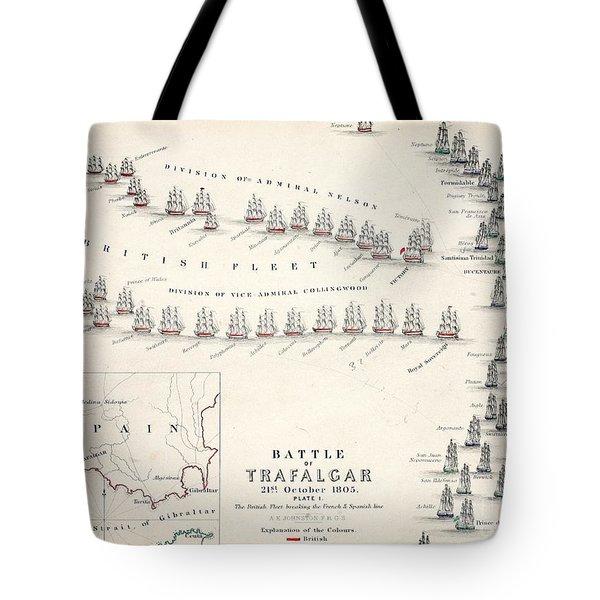 Map Of The Battle Of Trafalgar Tote Bag