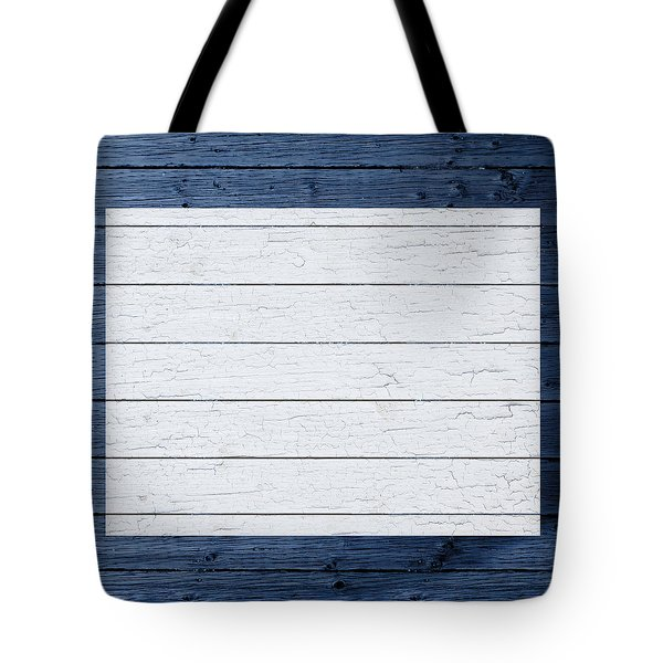 Map Of Wyoming State Outline White Distressed Paint On Reclaimed Wood Planks Tote Bag