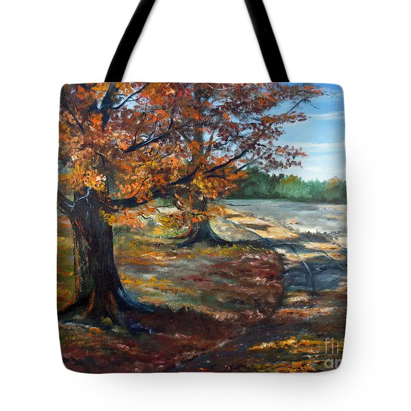 Tote Bag featuring the painting Maple Lane by Lee Piper