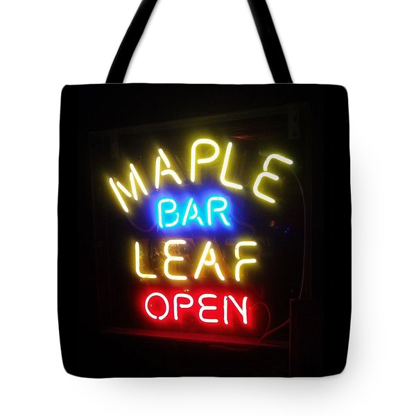 Maple Leaf Bar Tote Bag by Deborah Lacoste