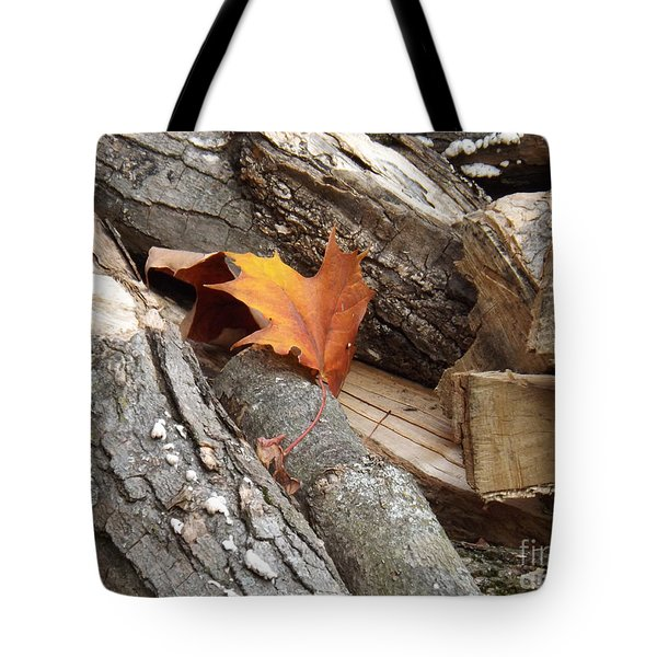 Maple Leaf In Wood Pile Tote Bag