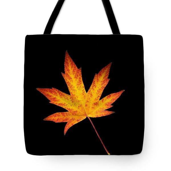Maple Leaf On Black Tote Bag