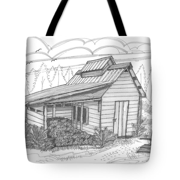 Tote Bag featuring the drawing Maple Sugar House by Richard Wambach