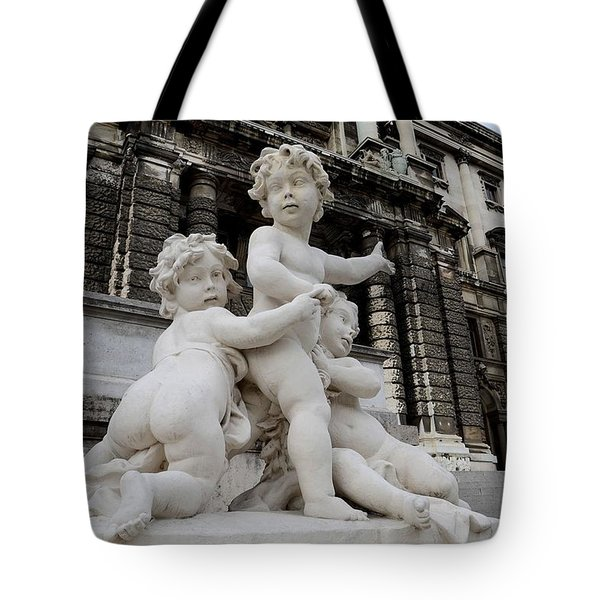 Marble Cherub And Angels Statue Vienna Austria Tote Bag by Imran Ahmed