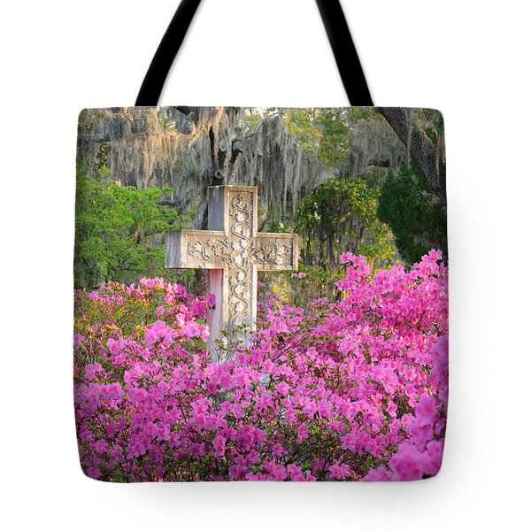 Tote Bag featuring the photograph Marble Cross And Azaleas by Bradford Martin
